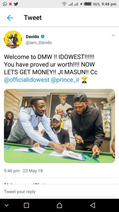 [Entertainment News] Davido signed Idowest to DMW label