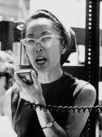 Yuri Kochiyama speaks at an anti-war demonstration in New York City's Central Park around 1968.