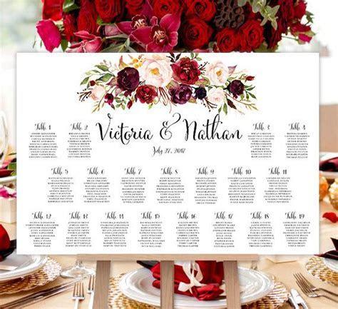 Wedding Seating Chart Poster Burgundy, Red, Blush Pink