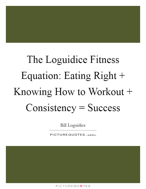 The Loguidice Fitness Equation Eating Right Knowing How To Picture Quotes
