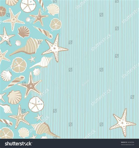 Seashell Beach Party Invitation Variety Shells Stock