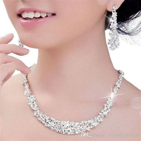 2018 Crystal Bridal Jewelry Set Silver Plated Necklace