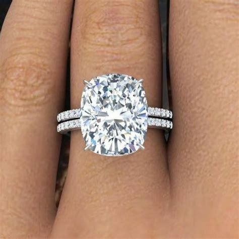 Natural 2.81 Ct Cushion Cut Diamond & Round Engagement