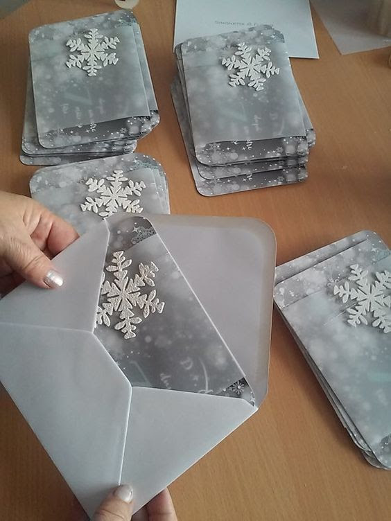 eisige, graue winter-Hochzeits-Einladungen mit glitzernden Schliff und 3D-Schneeflocken