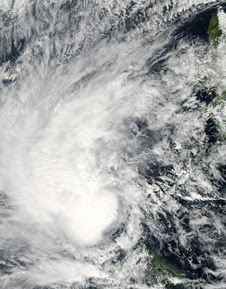 This visible image of Tropical Storm Sonamu in the South China Sea was captured by the MODIS instrument aboard NASA's Aqua satellite on Jan. 4, 2013