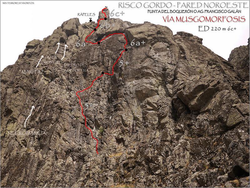 CROQUIS VÍA MUSGOMORFOSIS ED 220 m 6c+ - Aguja Fco.Galán - Pared Noroeste de Risco Gordo - Villarejo