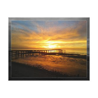 Ocean Sunrise Pier View Gallery Wrapped Canvas