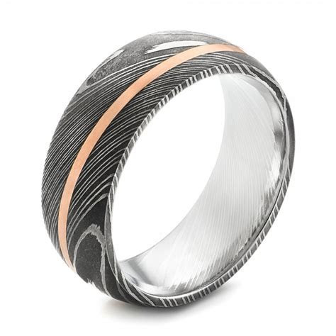 Custom Rose Gold Black Antiqued Men's Band #103134