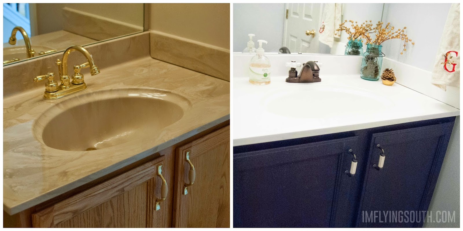 Remodelaholic Painted Bathroom Sink And Countertop Makeover Diy Home