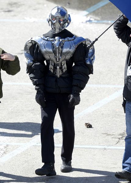 A stunt performer is suited up as the villainous Ultron on the set of AVENGERS: AGE OF ULTRON.