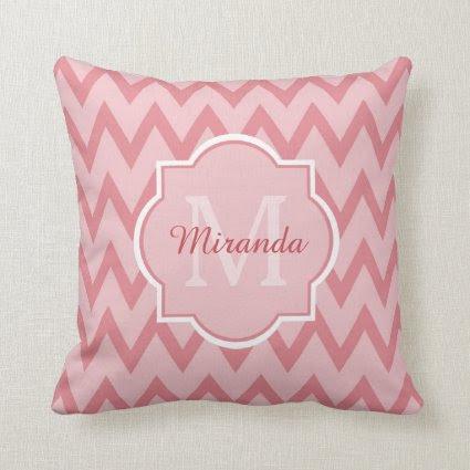 Trendy Pink Chevron Zigzag Name and Monogram Throw Pillows
