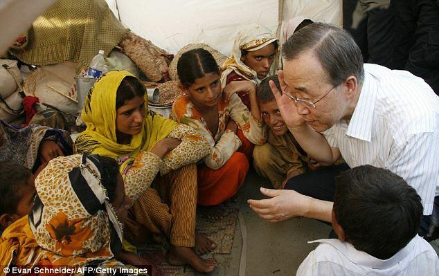 UN Secretary General Ban Ki Moon at the Sultan Colony in Punjab