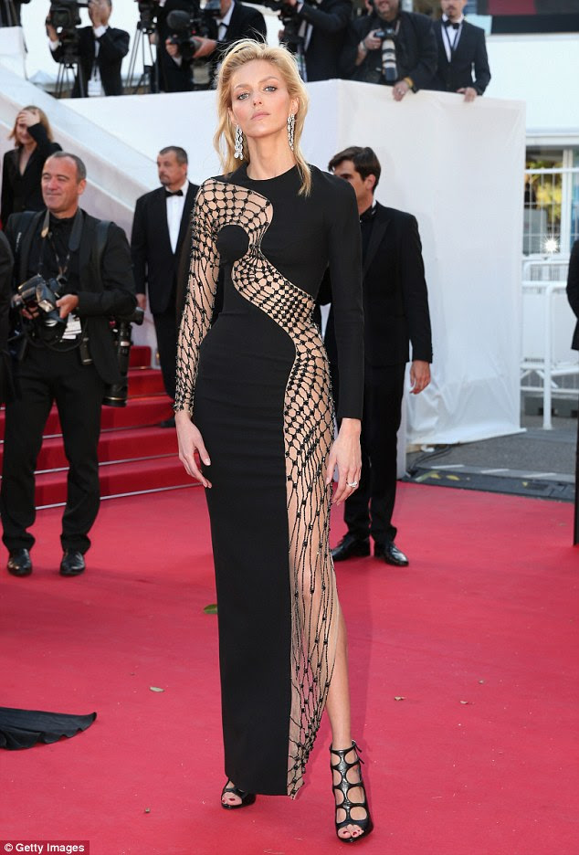 Weaving her web: Polish model Anja Rubik stood out from the crowd when she attended the Youth screening in Cannes on Wednesday evening