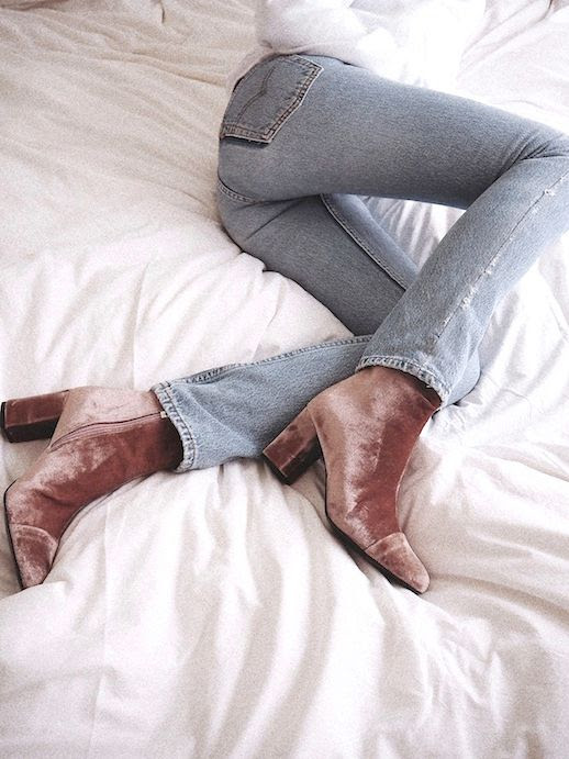 Le Fashion Blog Fall Style White Knit Light Wash Denim Brown Velvet Heeled Boots Via Vasilieva