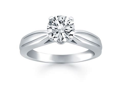Tapered Engagement Solitaire Ring in 14K White Gold
