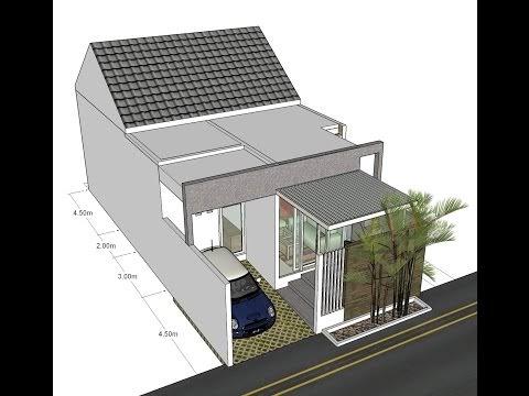 Desain dengan ruang ruang yang memanjang lahan 7x14m