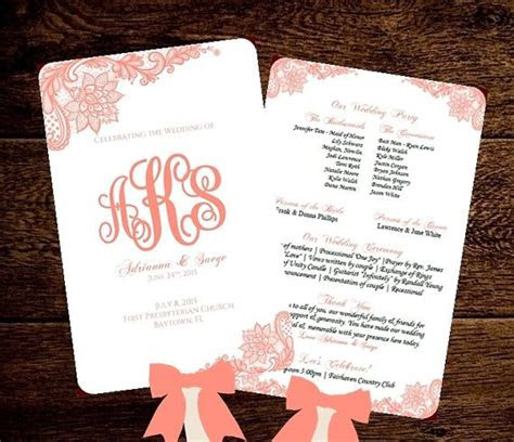 wedding fan program template printable coral