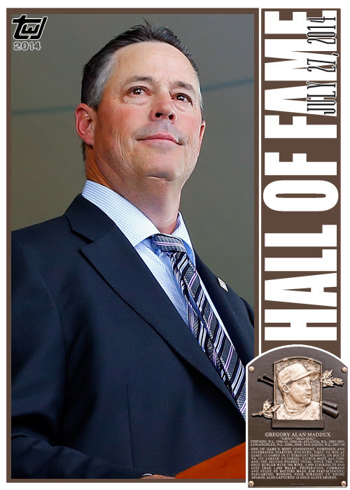 "twjcards:<br /><br />A top ten pitcher all-time, Greg Maddux epitomized finesse pitching. ""Mad Dog"" was immortalized by the National Baseball Hall of Fame today, selected by 97.2% of the voters for enshrinement.<br />Congratulations, Greg Maddux.<br />Special card, unnumbered, Greg Maddux, ""HALL OF FAME.""<br />The Writer's Journey<br />"