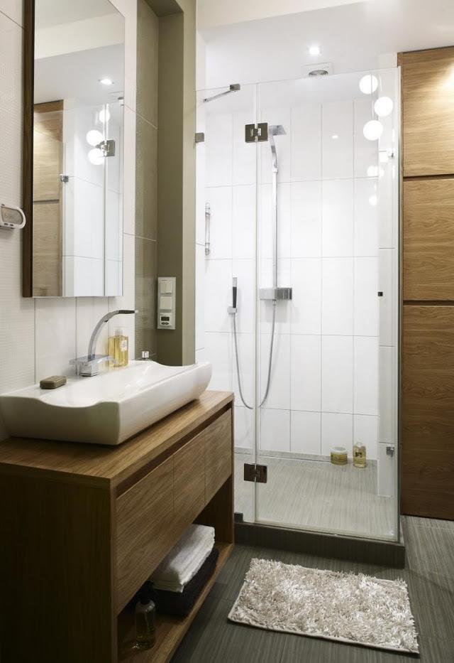 am%C3%A9nagement salle de bain sous lavabo bois douche italienne paroi