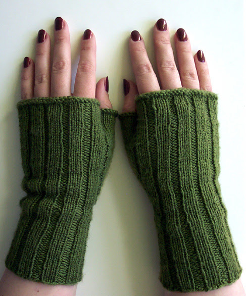 Army green fingerless mitts