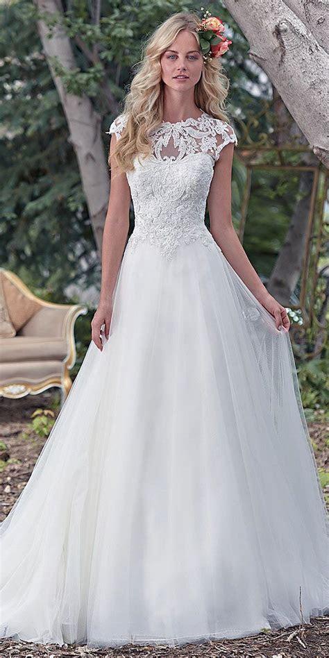 maggie sottero cap sleeves aline wedding dress   Wedding