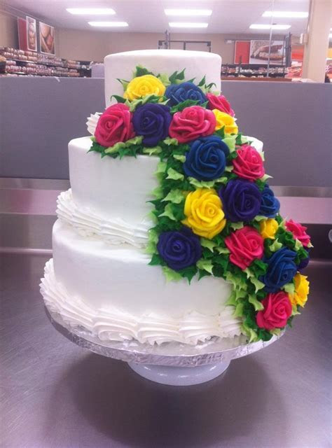 3 Tier Wedding Cake Buttercream Pink, Purple, Yellow, Blue