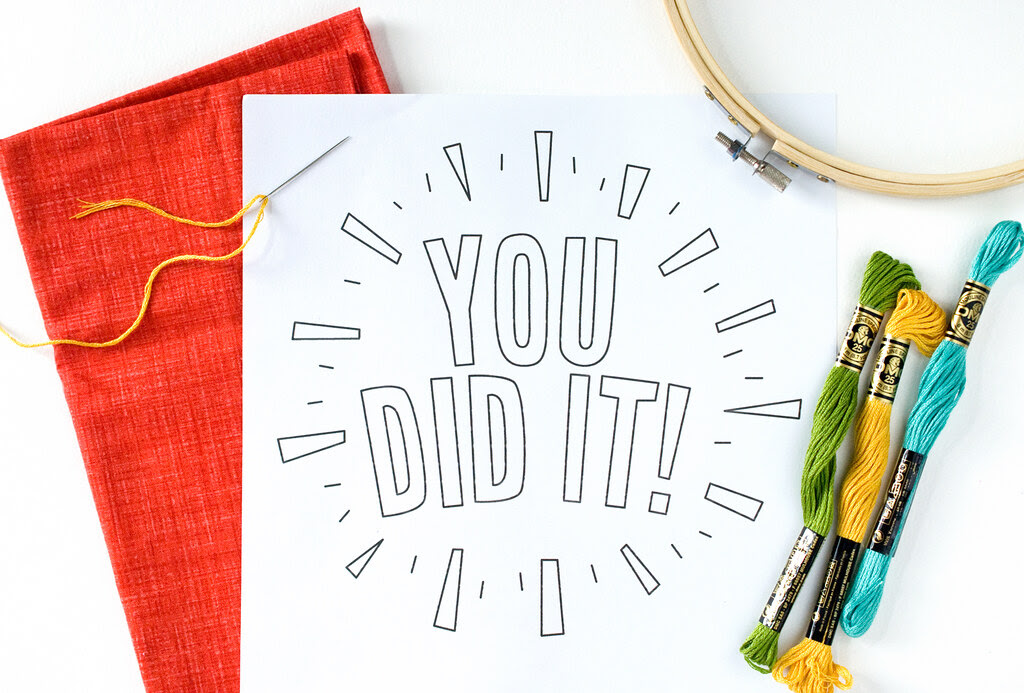 You Did It embroidery pattern