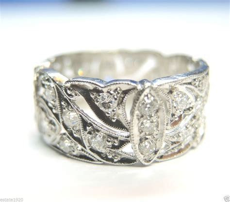 Antique Diamond Wedding Band Ring Eternity Vintage