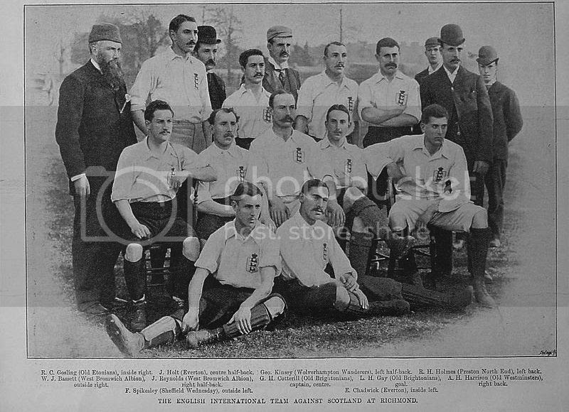 The England national football team before playing a match against Scotland, 1893