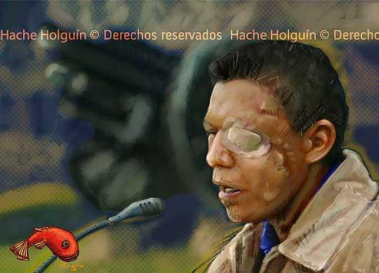 Retrato del guerrillero Isaza por Hache Holguín