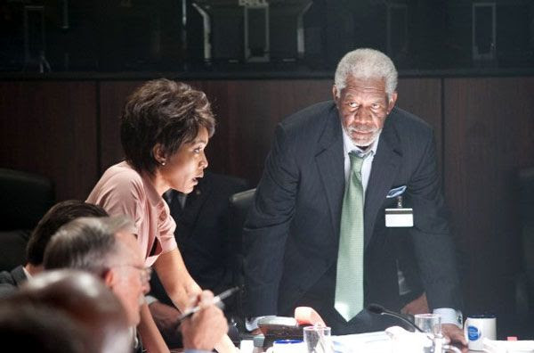 Secret Service Director Lynn Jacobs (Angela Bassett) and Speaker Trumbull (Morgan Freeman) must find a way to free President Asher from the Korean commandos in OLYMPUS HAS FALLEN.