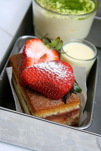 Barracks Strawberry Shortcake, and Green Tea Tiramisu (background)
