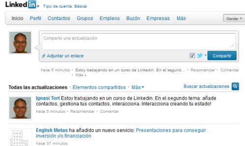 LinkedIn y las actualizaciones de estado