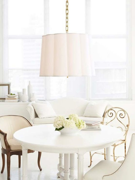 Suzie: Summer House Style - Chic white dining room design with Barbara Barry scallop pendant, ...