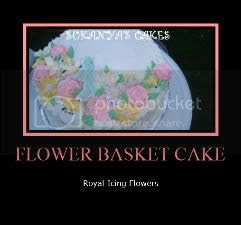 Royal Icing Flowers - Flower Basket Cake