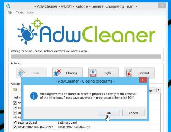 AdwCleaner removing adware