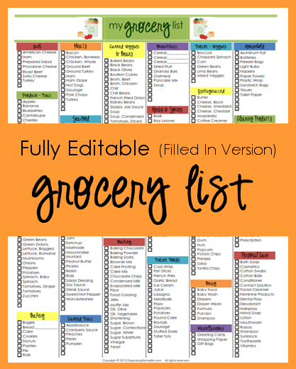Grocery List - Organizing Homelife