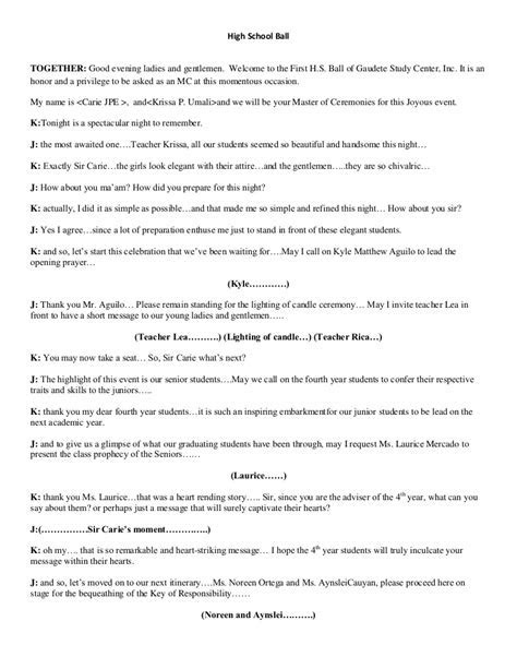 master of ceremony script for Prom