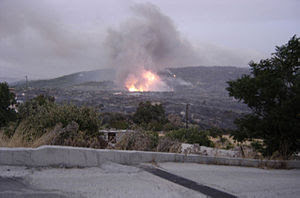 July 2008- Rhodes big fire in process. Total o...