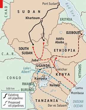 East African proposed oil pipeline. The project would involve the states of South Sudan, Uganda and Kenya. Oil is a major source of speculation in the region. by Pan-African News Wire File Photos