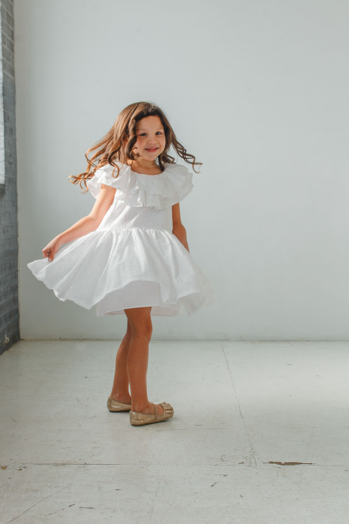 little girls Easter dresses - white eyelet ruffle dress