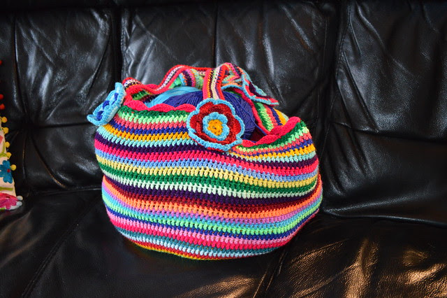 Rainbow crochet bag