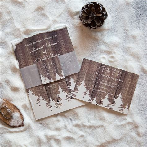 affordable winter barnwood pine tree wedding invitation