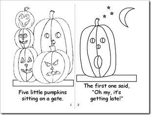 5 Little Pumpkins to Color | Play group / five little pumpkins coloring book