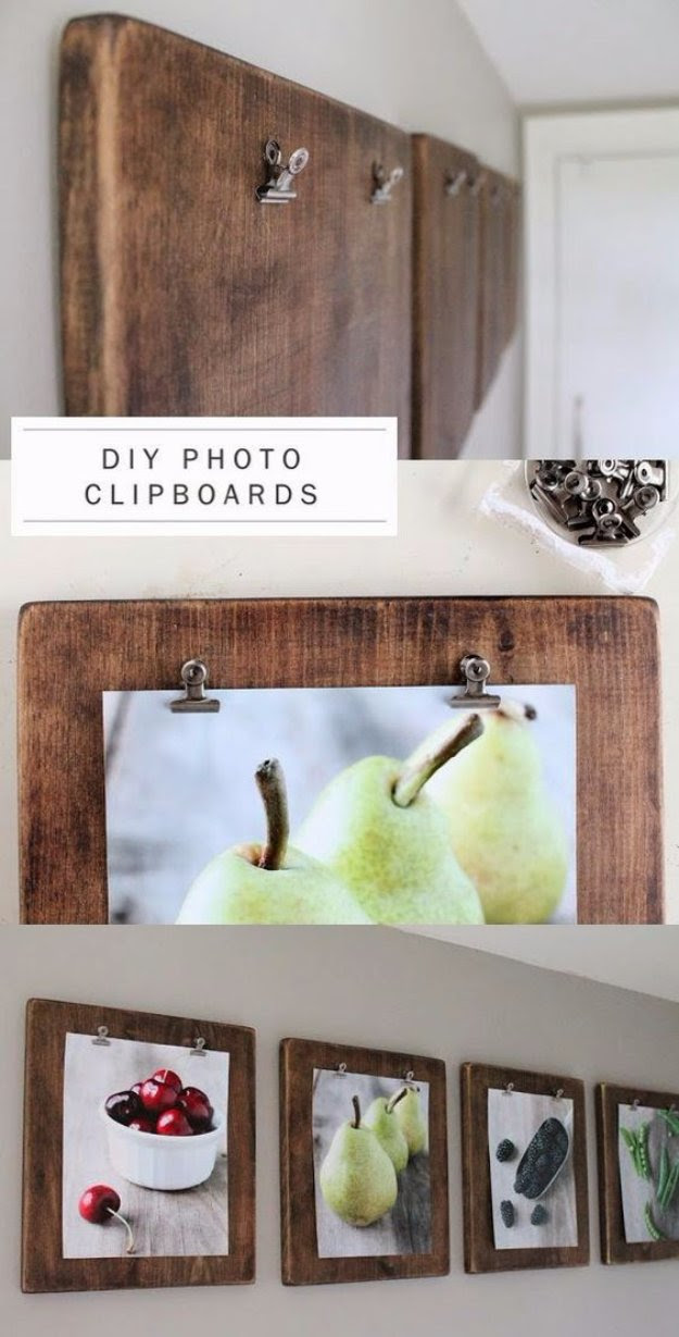Brilliant DIY Decor Ideas for The Bedroom - DIY photo Clipboards - Rustic and Vintage Decorating Projects for Bedroom Furniture, Bedding, Wall Art, Headboards, Rugs, Tables and Accessories. Tutorials and Step By Step Instructions http:diyjoy.com/diy-decor-bedroom-ideas