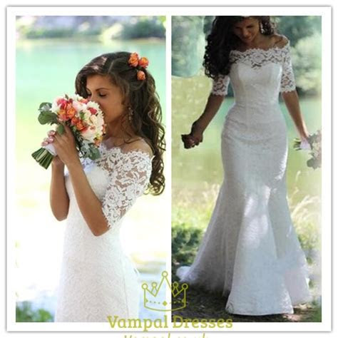 White Off The Shoulder Lace Mermaid Wedding Dress With