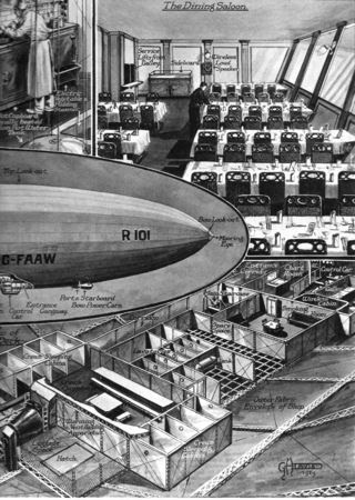 The R 101 was one of the largest lighter-than-air airships ever created.  The ship was still about a year away from its maiden flight when this popular survey was published in the Illustrated London News on March 29, 1929