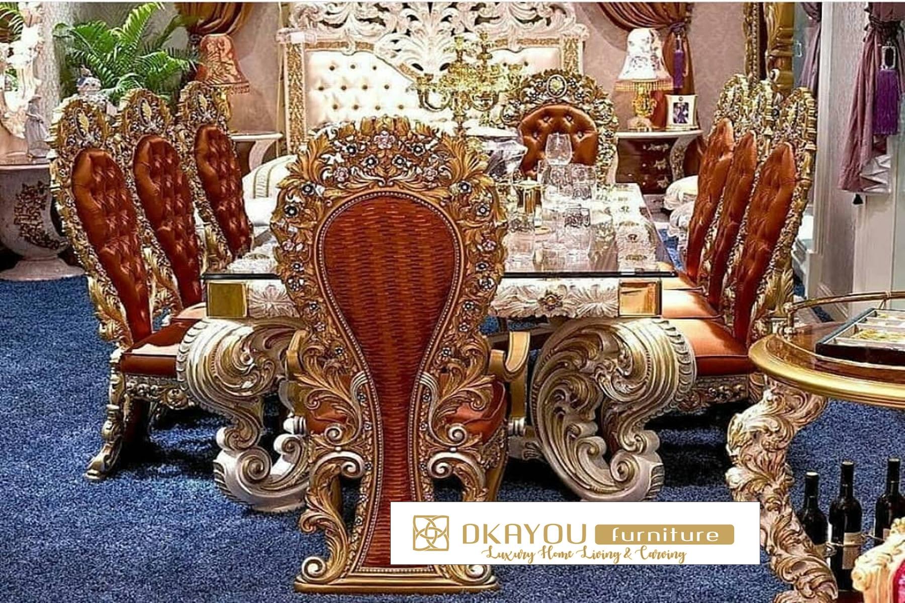 Set Kursi Meja Makan Mewah Bellagio Meja Makan Ukiran Mewah Arabian