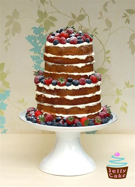"""Natural Summer Berries Cake   A 2 tier 4 layer """"naked"""