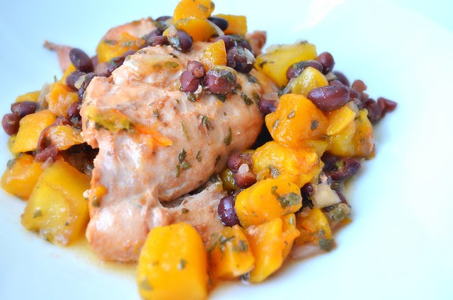 Spicy Slow Cooker Peach-Mango Chicken